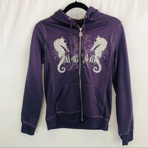 BCBG purple silver seahorse bling hooded zip up S